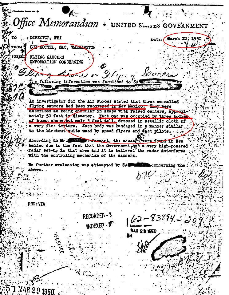 """F.B.I. Confirmó la recuperación de 3 OVNIs y 9 Extraterrestres """"Roswell"""" Nuestro2bpasado2bextraterrestre2bfbi2bdoc"""